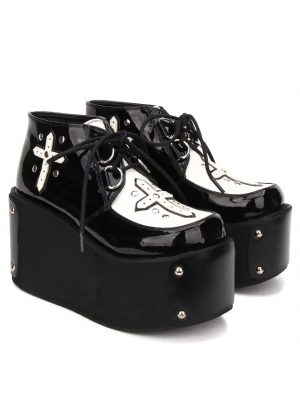 Black Gothic Cross Style Platform Shoes for Women