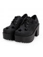 Black Gothic Star Platform Shoes for Women
