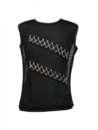 Black Sleeveless Chain Design Gothic T-Shirt for Men