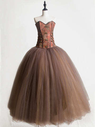 Brown Vintage Gothic Steampunk Corset Long Prom Party Dress