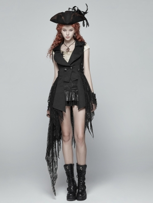 Black Gothic Dark Lace Asymmetric Vest for Women