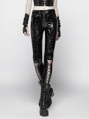 Black Gothic Punk Pressure Latex Trousers for Women