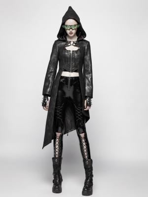 Black Gothic Punk Asymmetric Hem Hooed Jacket for Women