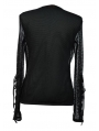 Black Net Mens Gothic T-Shirt with Lace-up Sleeves