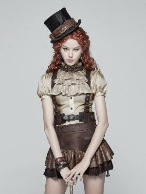 Brown Steam Punk PU Leather Vest Harness
