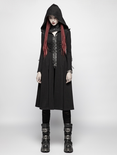 Black Gothic Punk Hooded Knit Jacket for Women