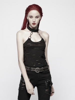 Black Gothic Punk Broken Hole Chain Tank Top for Women