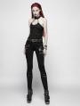 Black Gothic Punk Broken Hole Chain Tank Top for Women