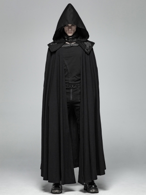 Black Gothic Punk Vampire Detachable Cloak for Men