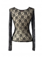 Black Sexy Lace Gothic T-Shirt Tops for Women