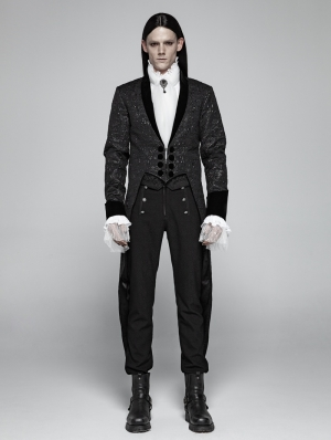 Black Vintage Gothic Jacquard Party Swallow Tail Coat for Men