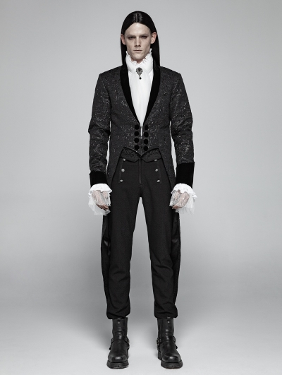 Black Vintage Gothic Jacquard Party Swallow Tail Coat for Men