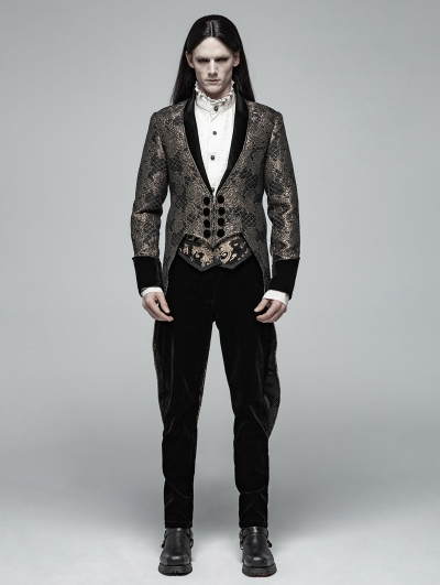 Gold Vintage Gothic Jacquard Party Swallow Tail Coat for Men