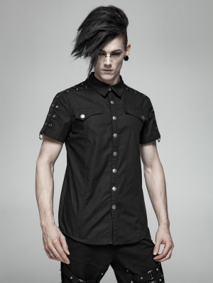 Black Gothic Punk Short Sleeve Shirt for Men