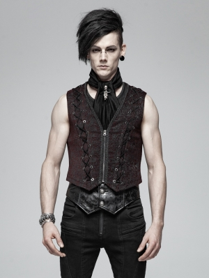 Black and Red Gothic Retro Vest for Men