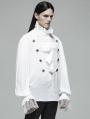 White Retro Gothic Lotus Leaf Loose Shirt for Men