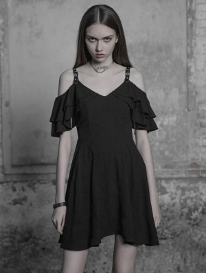 Black Gothic Lotus Leaf Chiffon Casual Short Dress