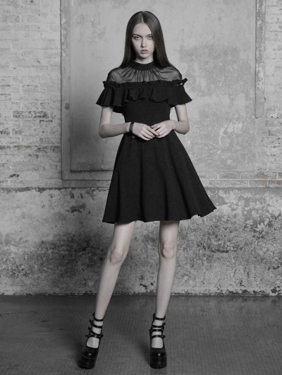 Black Gothic Lotus Leaf Short Sleeve Casual Dress