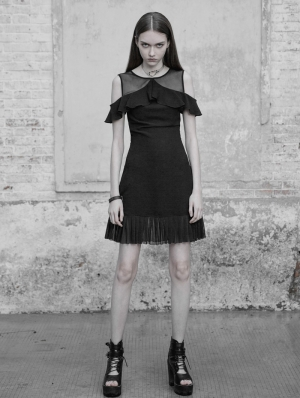 Black Gothic Chiffon Off-the-Shoulder Lotus Leaf Short Casual Dress