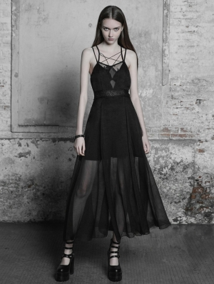 Black Gothic Strap Lace Chiffon Long Dress