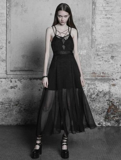 Black Gothic Strap Lace Chiffon Long Dress