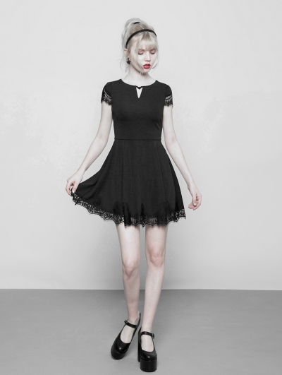 Black Gothic V-Collar Short Casual Dress with Lace Hem