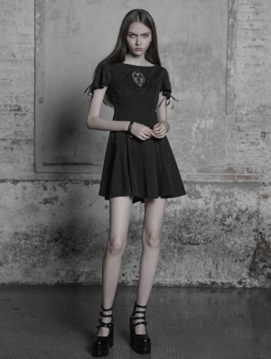 Black Vintage Gothic Embroidered Short Sleeve Dress