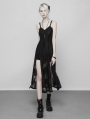 Black Gothic Lace Strap Heavy Industry Slit Long Dress