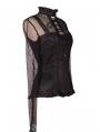 Black High Collar Net Sexy Gothic T-Shirt for Women