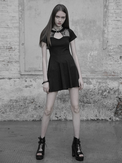 Black Gothic Hollow Lace Short Casual Dress