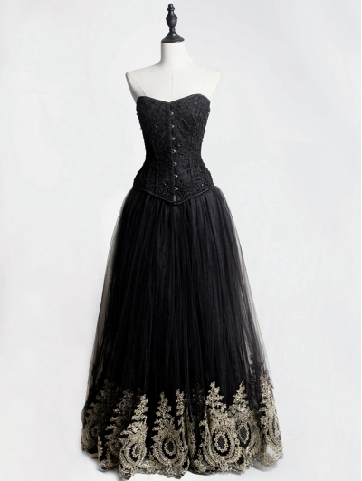 Black Gothic Corset Prom Party Long Dress with Gold Lace Hem