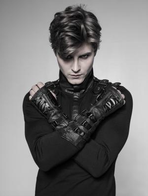 Black Gothic Punk Metal Gloves for Men