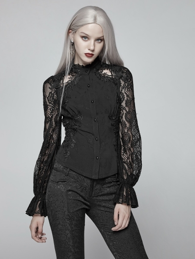 Black Gorgeous Gothic Lace Long Sleeve Shirt for Women