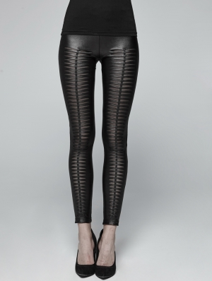 Black Gothic Devil Footprints Legging Pants for Women