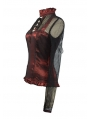 Wine Red High Collar Net Sexy Gothic T-Shirt for Women