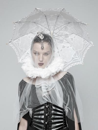 White Gothic Victoria Lace collar