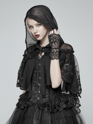 Black Gothic Lolita Small Cloak Shawl with Hood