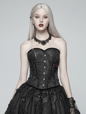 Black Gothic Jacquard Flower Overbust Corset