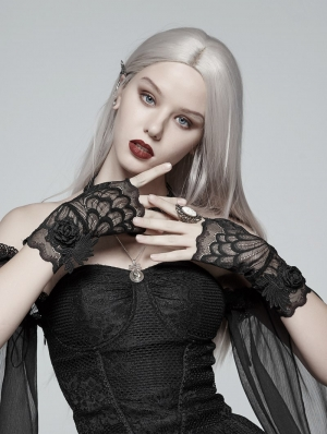 Black Gothic Lace Flower Gloves