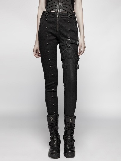 Black Steampunk Rivet Belt Trousers for Women