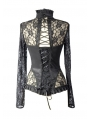 Black Sexy Lace Long Sleeves Gothic T-Shirt Tops for Women