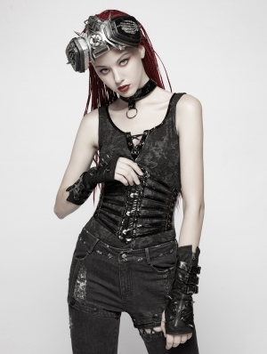 Black Gothic Punk PU Girdle for Women