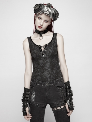 Black Gothic Punk Vest Tank Top for Women