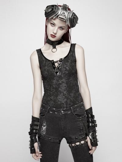 Black Gothic Punk Vest Tank Top for Women