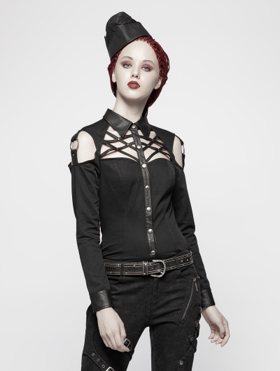 Black Sexy Gothic Punk Hollow Out Shirt for Women