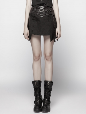 Black Gothic Punk Girdle Half Skirt for Women