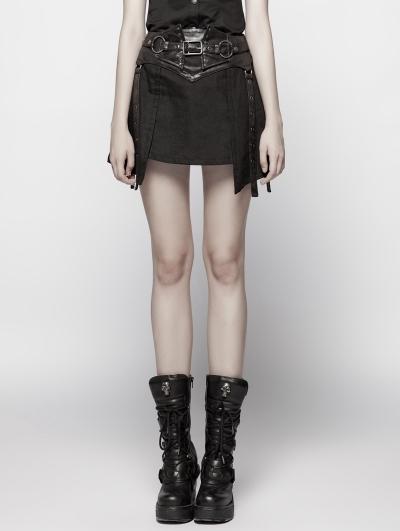 Black Gothic Punk Girdle Half Skirt for Women