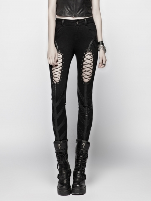 Black Gothic Punk Hollow-out Stretch Trousers for Women