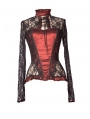 Wine Red Sexy Lace Long Sleeves Gothic T-Shirt Tops for Women