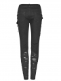 Black Gothic Punk Broken Hole Trousers for Women